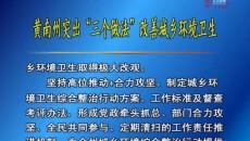 """黄南州突出""""三个做法""""改善城乡环境卫生"""