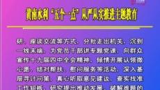 """黃南水利""""五個一點""""從嚴從實推進主題教育"""