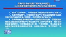 青海省全力推动复工复产的补充规定(二)减免疫情防控期间中小微企业商业房租税费