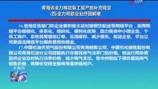 青海省全力推动复工复产的补充规定(四)全力帮助企业纾困解难