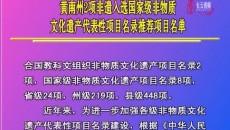 黃南州2項非遺入選國家級非物質文化遺產代表性項目名錄推薦項目名單