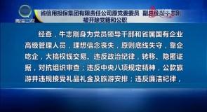 省信用担保集团有限责任公司原党委委员 副总经理牛志刚被开除党籍和公职