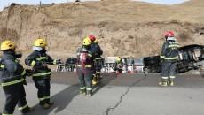 零下15度  18小時  黃南消防成功處置一起甲醇槽車側翻事故