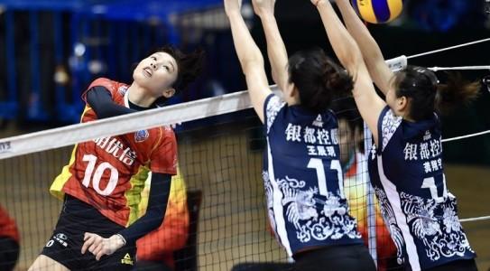 中国女排超级联赛半决赛 上海3比0胜江苏夺赛点