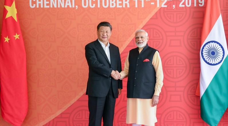习远仄同印度总理莫迪正正在金奈继尽举止接睹会里